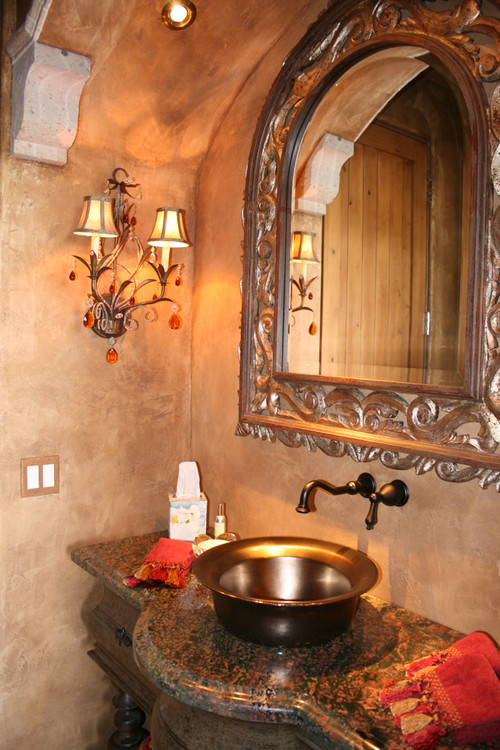 Are the walls faux painted or old world style drywall for Venetian plaster bathroom ideas