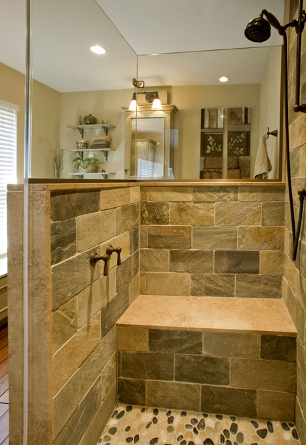 Refined rustic master bath remodel ambler pa for Rustic tile bathroom ideas