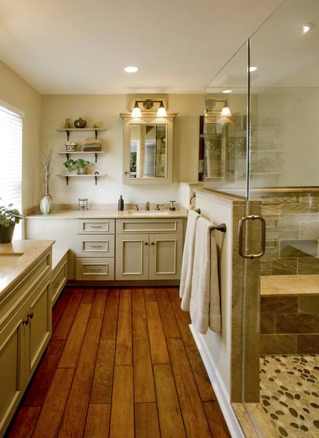 Refined rustic master bath remodel ambler pa for Hardwood floor in bathroom