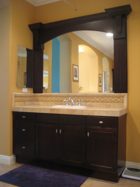 Refinished vanity with custom mirror frame for Custom made mirrors for bathrooms
