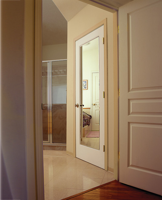 Reflections mirror decorative glass interior door bathroom sacramento by homestory easy Glass bathroom doors interior