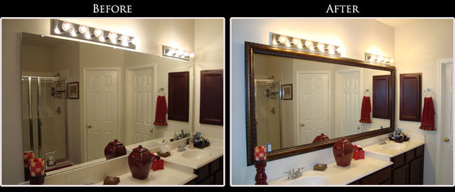 Refresh a tired bathroom simply and inexpensively with a - Mirror frame kits for bathroom mirrors ...