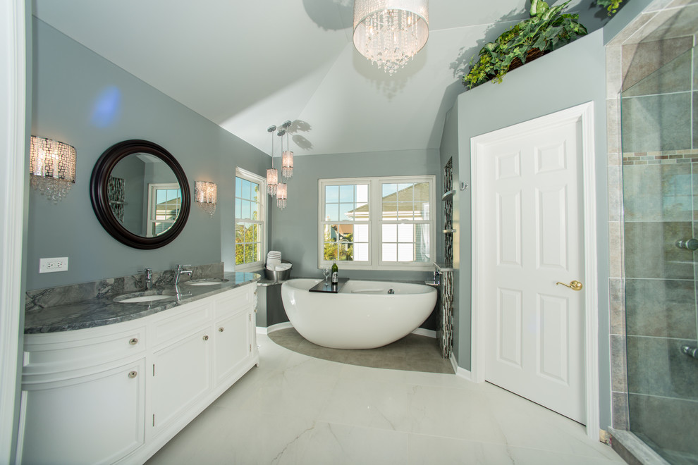 Example of a trendy freestanding bathtub design in Chicago