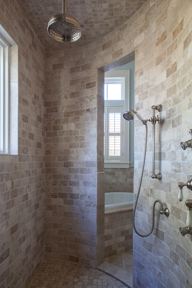 Inspiration for a timeless master beige tile and stone tile bathroom remodel in Miami