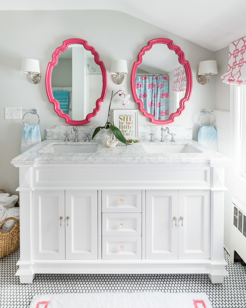Bathroom - traditional kids' mosaic tile floor bathroom idea in Boston with recessed-panel cabinets, white cabinets, gray walls and an undermount sink
