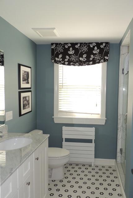 Relaxed Roman Shade In Bathroom Transitional Bathroom Boston By Cente