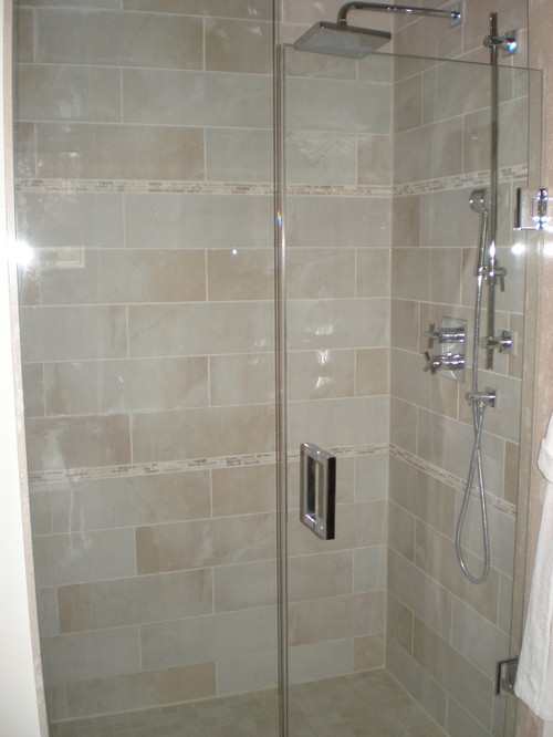 Excellent Vertical Tile Layout With Horizontal Accent Band In Shower