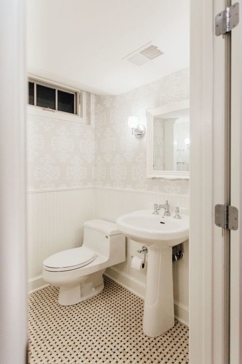 A Beadboard Bathroom with Wallpaper