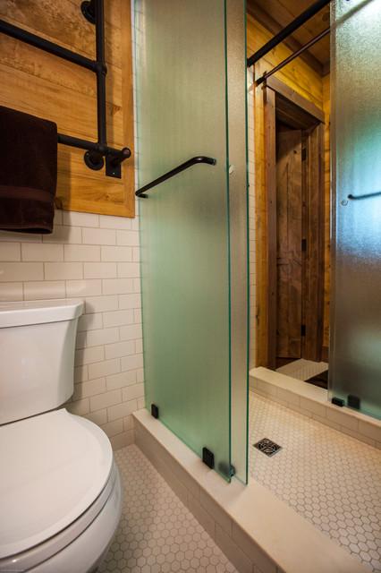 Renovation of 50 39 s ranch style home rustic bathroom for Adirondack bathroom design