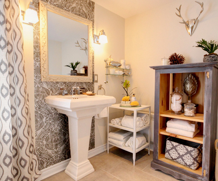 Renovation Of A Century Cottage In St Sauveur Quebec Farmhouse Bathroom Montreal By Renodeco Etc