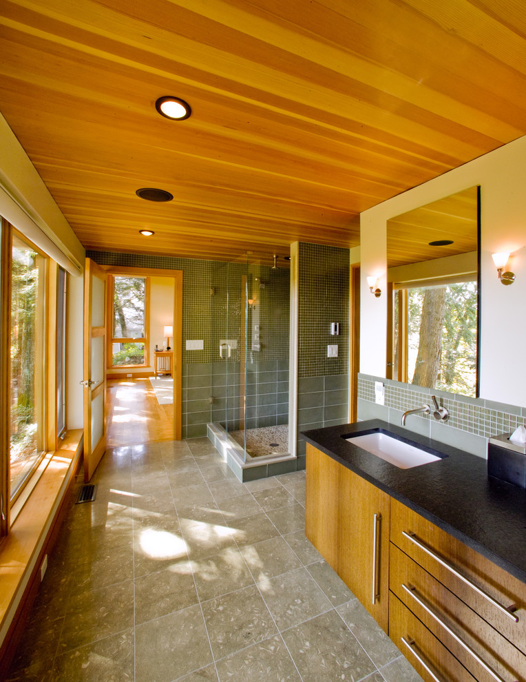 Inspiration for a contemporary mosaic tile bathroom remodel in Boston