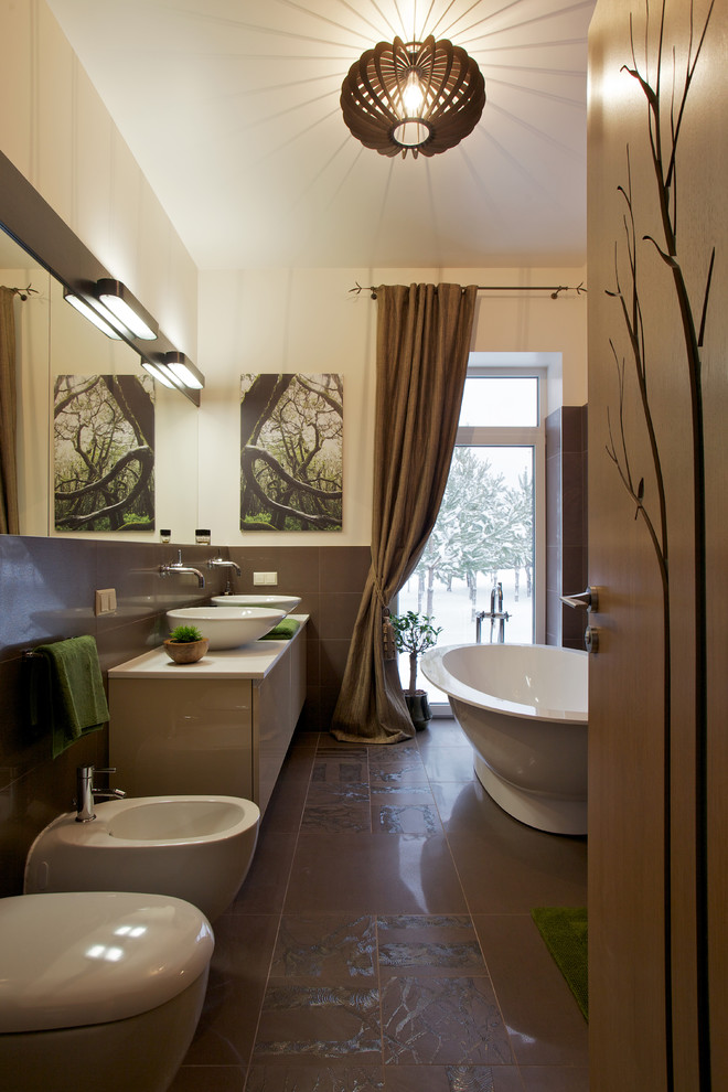 Inspiration for a contemporary freestanding bathtub remodel