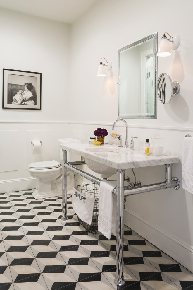 Mid-sized elegant master cement tile multicolored floor and cement tile floor alcove shower photo in New York with an undermount sink, marble countertops, a two-piece toilet, white walls and white countertops