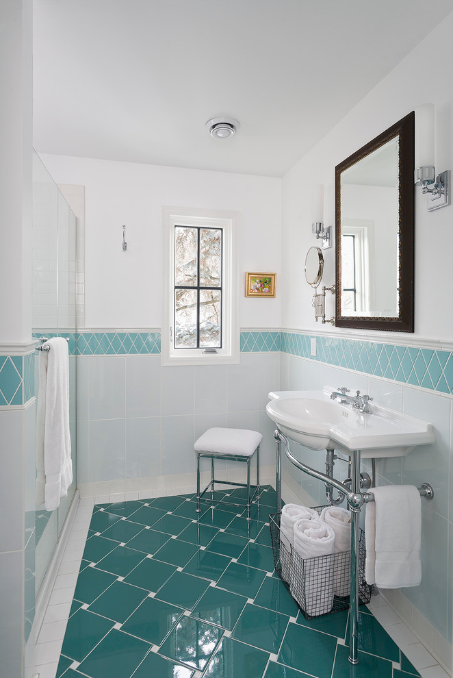 Example of a small classic master blue tile and porcelain tile ceramic tile and turquoise floor bathroom design in Minneapolis with a console sink and white walls