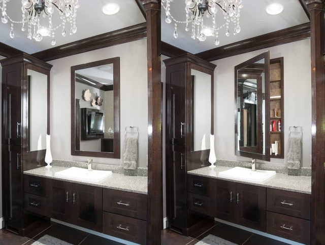 Restoration hardware style home transitional bathroom cleveland by mullet cabinet - Restoration hardware cabinets ...