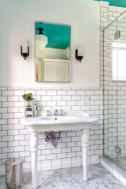 retro bathroom in downtown delaware transitional bathroom - Retro Bathrooms