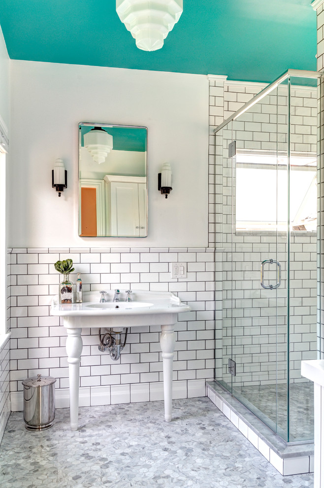 Inspiration for a small victorian master white tile and subway tile marble floor alcove shower remodel in Columbus with a console sink and white walls