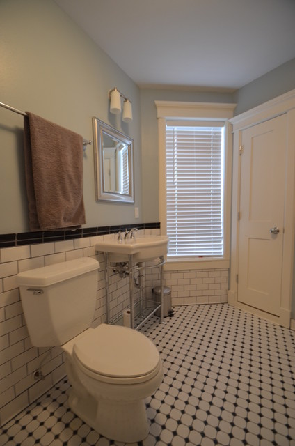 Retro craftsman style subway bathroom traditional bathroom for Craftsman bathroom designs