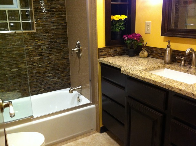 Revitalized master bath on a budget contemporary bathroom st louis by scott haig ckd Small modern bathroom on a budget