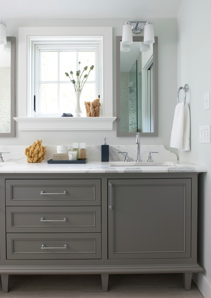 Inspiration for a coastal bathroom remodel in Boston with marble countertops, gray cabinets, shaker cabinets, gray walls and a drop-in sink