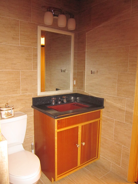 Ribbon Wood And Beech Trim Bathroom Vanity Transitional Bathroom Houston By Innovate