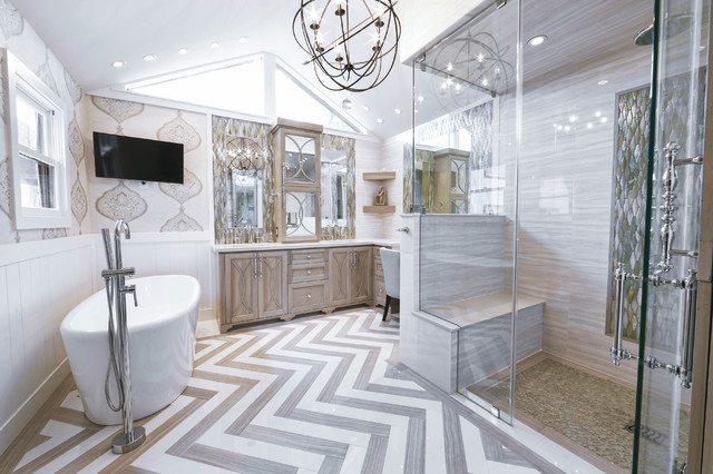 Example Of A Mid Sized Transitional Master Gray Tile And Porcelain Tile  Porcelain Floor Bathroom