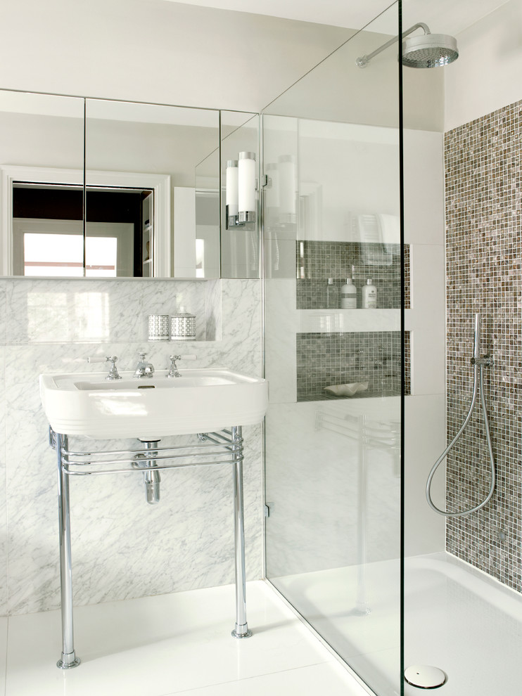 Photo of a contemporary bathroom in London with a walk-in shower, a console sink and an open shower.