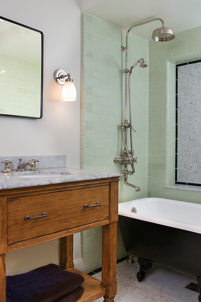 Bathroom - traditional green tile and subway tile bathroom idea in San Francisco with an undermount sink, medium tone wood cabinets, flat-panel cabinets and gray countertops