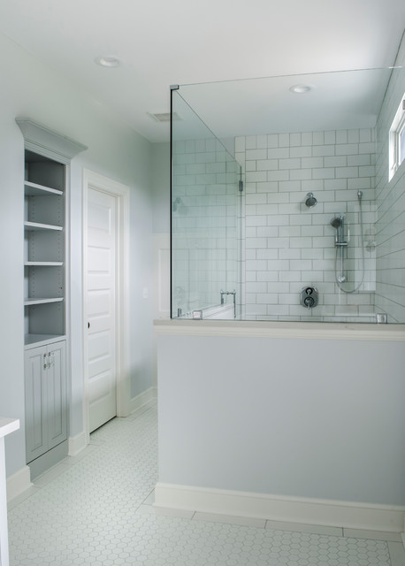 Example of a transitional bathroom design in Cleveland