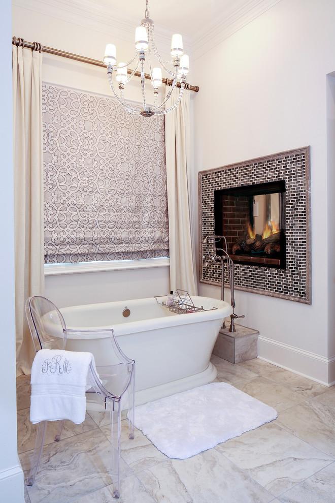 Transitional white tile freestanding bathtub photo in Nashville