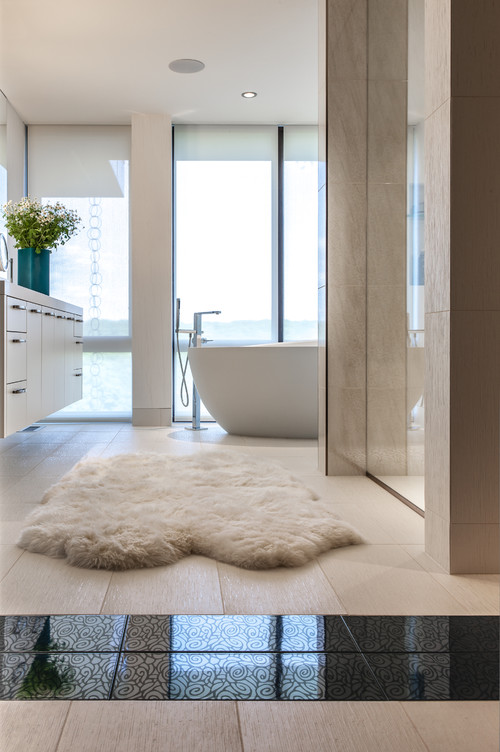 The Best Places For A Sheepskin Rug Abode - Cowhide and sheepskin rugs bathroom