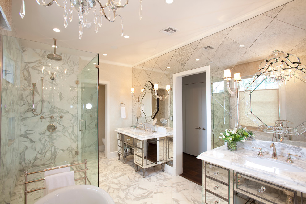 Trendy freestanding bathtub photo in Houston