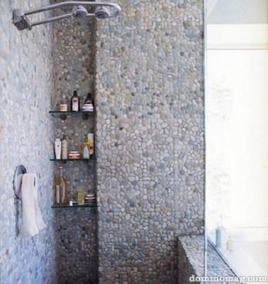 River Rock As Tile Bathroom