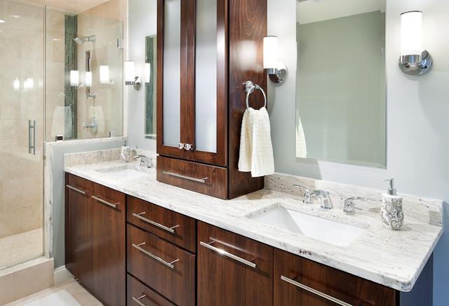 River White Granite Vanity - Modern - Bathroom - Boston