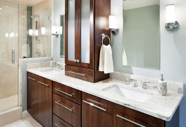 River White Granite Vanity modern-bathroom