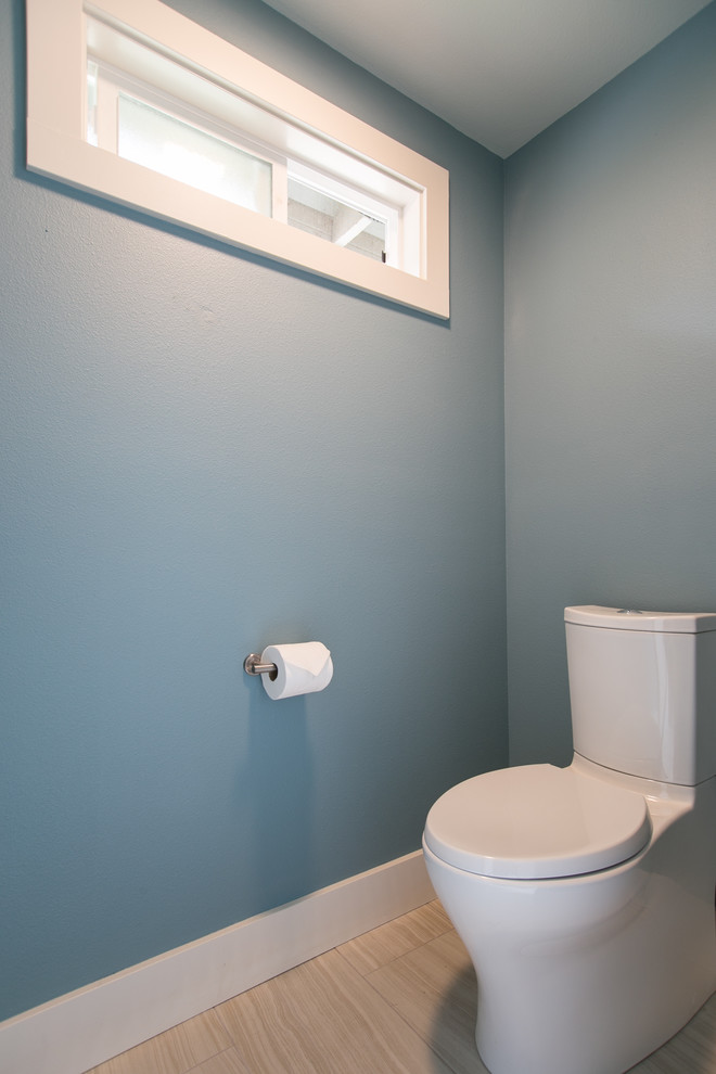 Inspiration for a contemporary bathroom remodel in Portland with blue walls