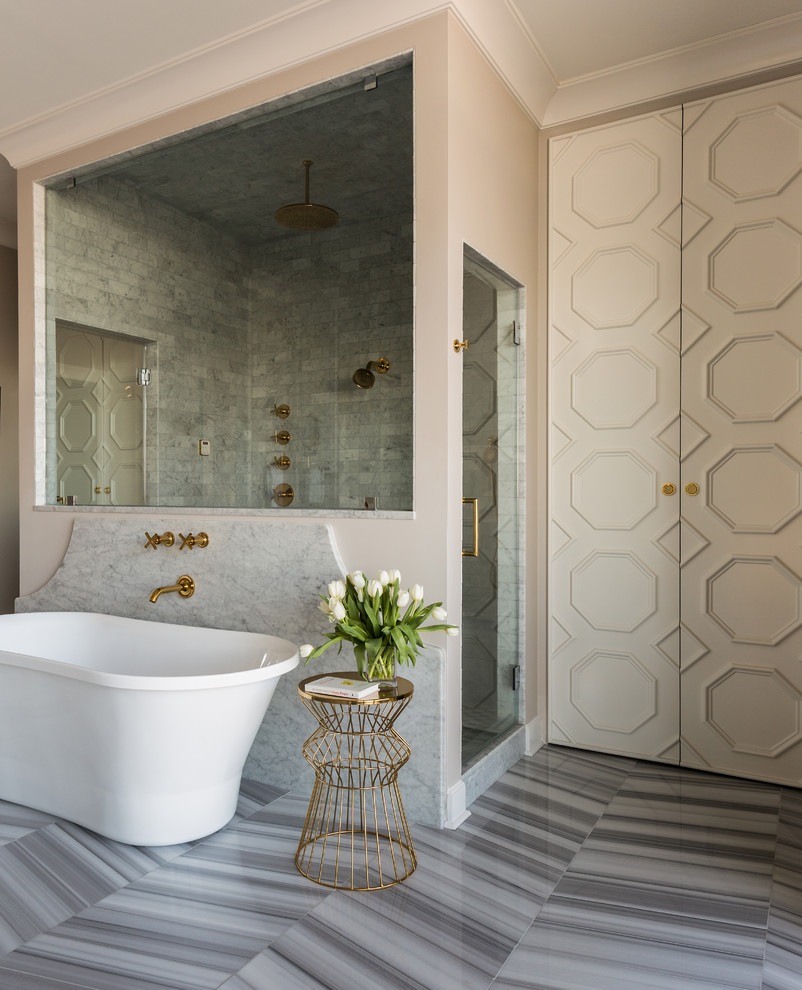 Bathroom - large transitional master white tile marble floor bathroom idea in Little Rock with beige cabinets, beige walls and marble countertops