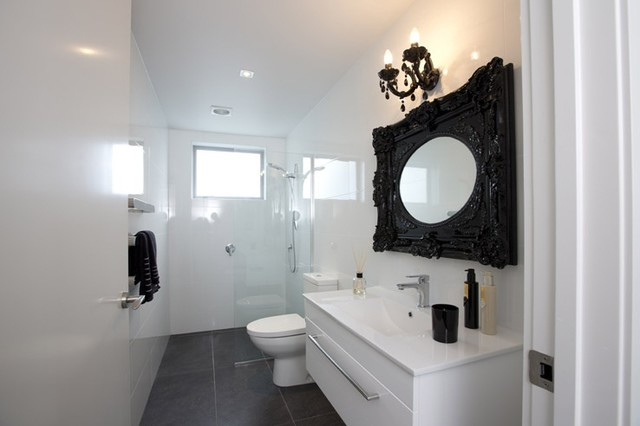 Riviera Anthracite amp Easy White Gloss Bathroom 1