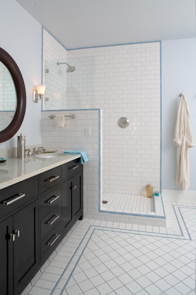 Inspiration for a timeless subway tile bathroom remodel in Seattle