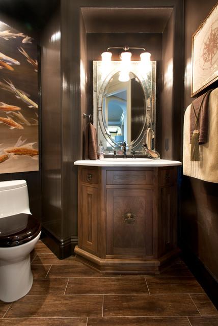 Robeson design dramatic powder room transitional for Dramatic bathroom designs