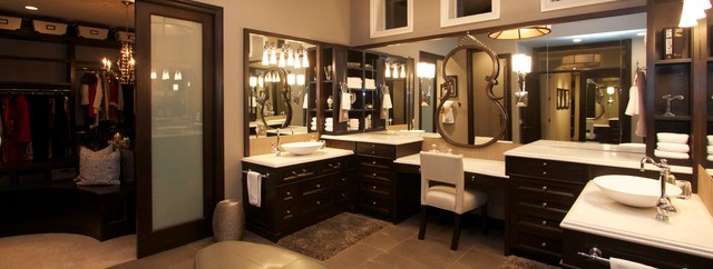 Robeson design master bathroom custom closet and dressing for Bedroom designs with attached bathroom and dressing room