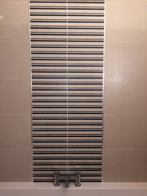 Modern Bathroom Feature Tiles : Roca bathroom suite with feature tiles modern