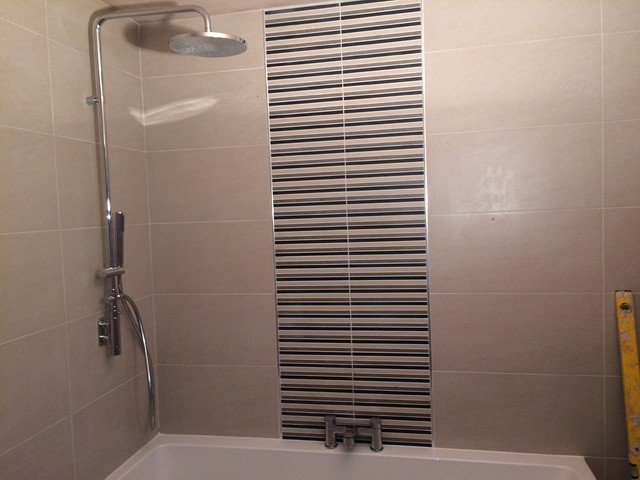Roca Bathroom Suite With Feature Tiles Modern Bathroom Dorset By K And B Installations