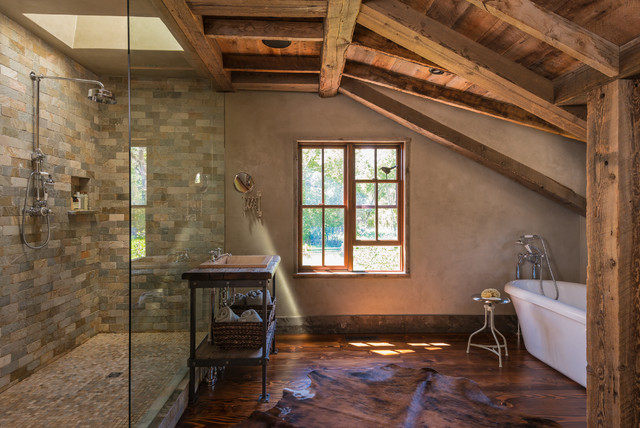 Inspiration For A Rustic Beige Tile Dark Wood Floor Bathroom Remodel In Other With Drop