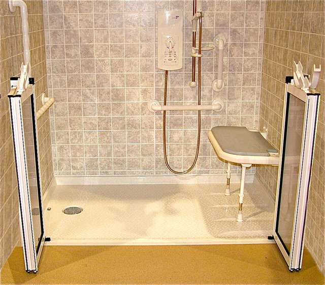 Handicap bathroom remodeling - Roll In Shower Handicapped Ada Shower Traditional Bathroom