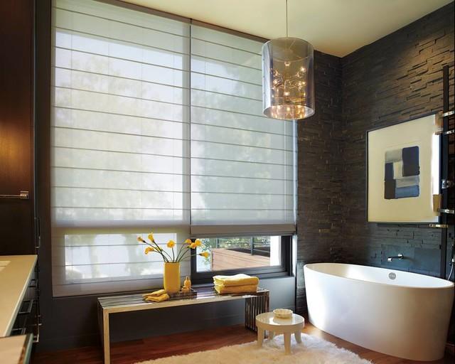 Roman Shades Industrial Bathroom Other Metro By Coastal Design
