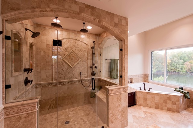 Roman style bath adds splendor to reston townhome for Roman style home design