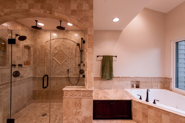 Roman style bath adds splendor to reston townhome for Bathroom decor styles
