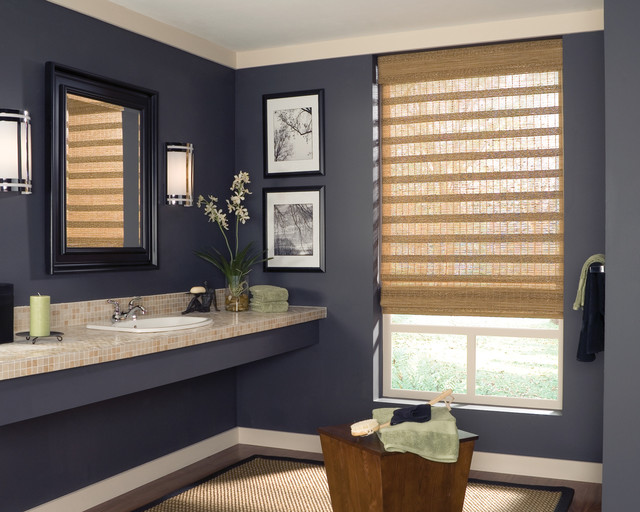 Roman Style Woven Wood Blinds Contemporary Bathroom