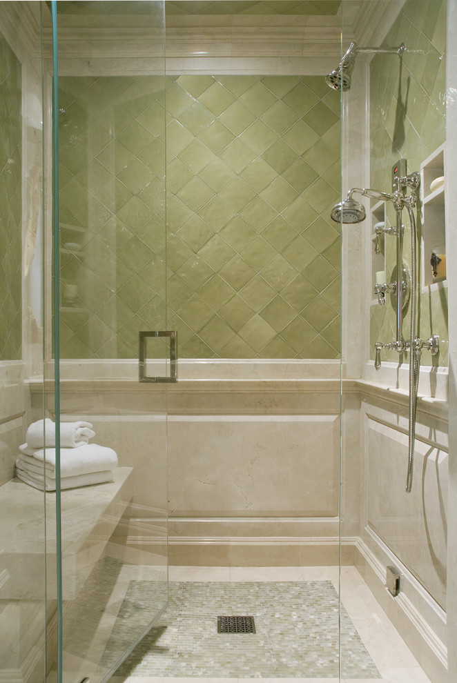 Example of a tuscan mosaic tile bathroom design in Los Angeles